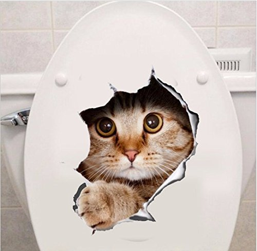URToys Vivid Hole View Cute Waterproof Cats Toilet Sticker 3D Animal Pet Dog Wall Sticker Decorative Bathroom Background Wall Stickers Persönality Home Decor