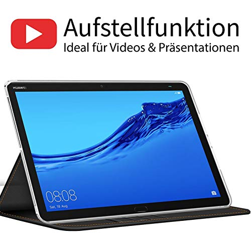 Verco Hülle für Huawei Mediapad M5 - M5 Pro, Schutzhülle Tablet Tasche Standfunktion Cover PU Leder [10,8 Zoll], Schwarz - 3
