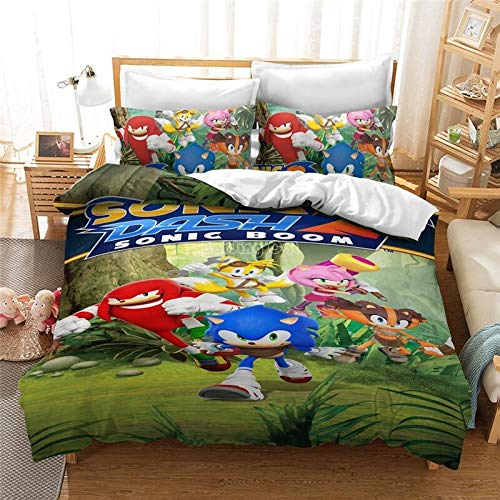 New 3D Bedding Set Sonic Hedgehog Pattern Duvet Cover and Pillowcase Queen King Size (12.5 x 200 cm)