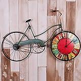 Orologio da parete LOFT Vintage Bicycle Decorative Frame Clocks Montaggio a parete Barra industriale Caffetteria murale soggiorno ufficio grande camera da letto cucina L81 * H51cm ( Colore : B )