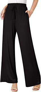 Women's Elastic Waist Solid Palazzo Casual Wide Leg Pants with Pockets