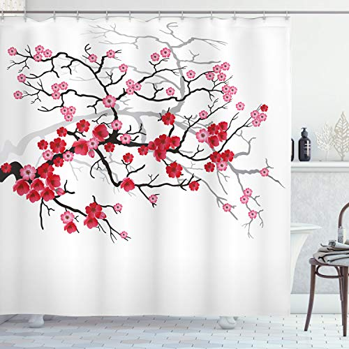 ABAKUHAUS japanisch Duschvorhang, Blüten Sakura Pflanze, mit 12 Ringe Set Wasserdicht Stielvoll Modern Farbfest & Schimmel Resistent, 175x200 cm, Dunkelbraun Dunkle Koralle Hellrosa