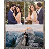 Custom Personalized Woven Blanket with your Photo. Full Color with 3 Photos. Soft 100% woven cotton fabric makes a nice warm decorative keepsake gift customized with your photo (3 Photos, 50'' x 60'')