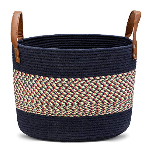 Homfa Wäschekorb Faltbarer Wäschesammler Natur Baumwolle Seil Aufbewahrungskorb mit PU-Griff Wäschesack für Wohnzimmer Badezimmer Spielzimmer