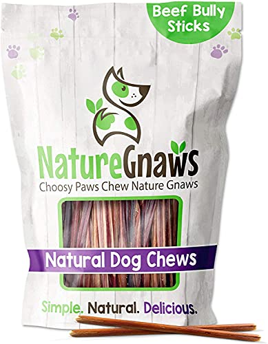 Nature Gnaws Extra Thin Bully Sticks for Dogs - Premium Natural Beef Bones - Long Lasting Dog Chew Treats for Small Dogs & Puppies - Rawhide Free - 6 Inch (25 Count)