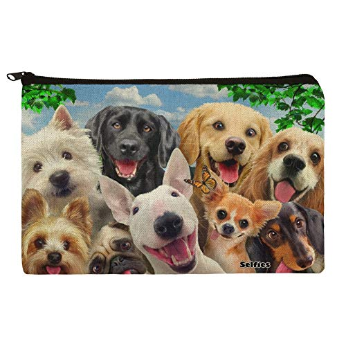 Dogs Selfie Lab Golden Retriever Dachshund Westie Pug Terrier Pencil Pen Organizer Zipper Pouch Case