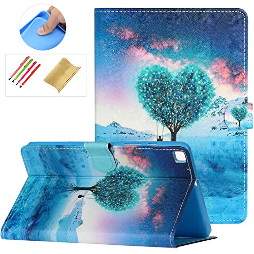 SM-T290 SM-T295 Case with Stylus Holder,Galaxy Tab A8 Case 2019, PU Leather Anti-Scratch Protective Flip Stand Wallet Card Slots Cover for Samsung Galaxy Tab A 8.0' 2019 without S Pen Model, Love Tree