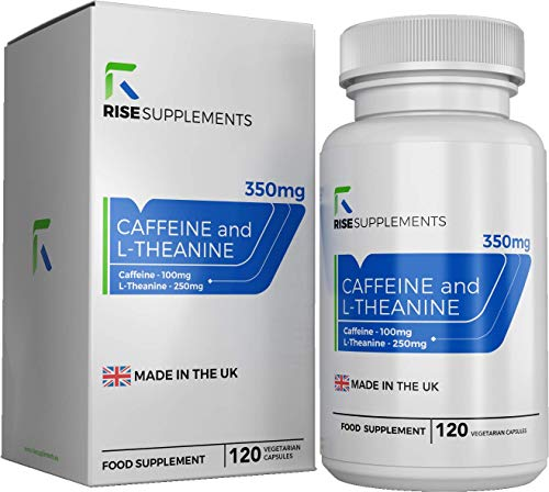 Caffeine & L Theanine 100mg + 250mg | 120 Capsules | Nootropics Cognitive Enhancer to Boost Performance & Energy | Natural Memory Supplement | Made in The UK — Non-GMO || Rise Supplements