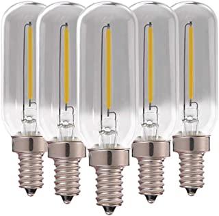 T25 Bombilla tubular de filamento LED, Vintage Edison E14 Base(vidrio ahumado) Bombillas LED, 1W(equivalente a 10W) Blanco natural 4000K Bombillas de candelabro, 90 lúmenes no regulables, paquete de 5