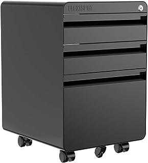 FLEXISPOT オフィスワゴン キャスター付きオフィスデスクサイドワゴン 3段書類キャビネット 書類ケース CB2B (Black)