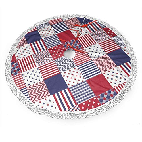 XIUZHEN Christmas Tree Skirt USA Americana Diagonal Red White Blue Quilt Design Xmas Tree Mat with Tassel for New Year Party Holiday Ornaments 30'