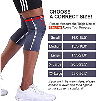 BERTER Knee Compression Sleeve Support for Running, Jogging, Sports - Brace for Joint Pain Relief, Arthritis and Inju...