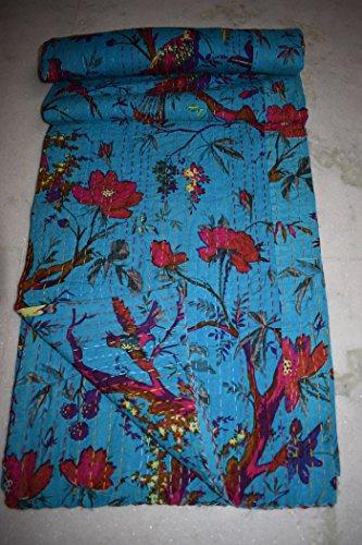 Couverture simple réversible en coton pour mariage, couvre-lit Kantha vintage pour chambre à coucher Motif floral Gudri Ralli