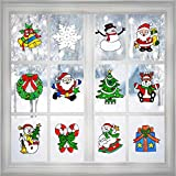Joinart 12 Pcs Christmas Window Clings Decal Ornaments Christmas Window Stickers for Christmas Window Decorations Party Supplies Snowman, Santa Claus and More