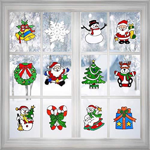 Joinart, 12 adesivi natalizi per finestra, decorazioni natalizie per finestre natalizie, decorazioni natalizie, pupazzo di neve, Babbo Natale e altro
