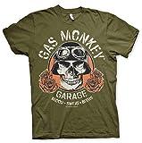 Gas Monkey Garage Oficialmente Licenciado Skull Camiseta para Hombre (Olive),...