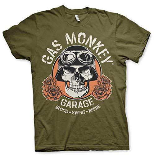 Gas Monkey Garage Oficialmente Licenciado Skull Camiseta para Hombre (Olive), X-Large