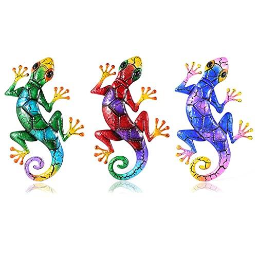 Pisamhid 3 figuras decorativas de lagarto de metal para colgar en la pared, decoración de pared, salamandra, lagarto, decoración colgante para jardín, terraza o valla, 43 x 27 cm