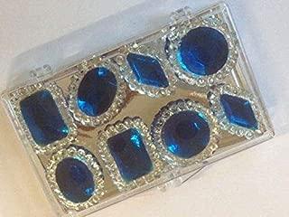 8 Edible Sugar Cake Cupcake Jewels Gems Brooch Diamond Decoration SAPPHIRE BLUE