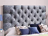 Cabeceros de cama de Serenity de terciopelo arrugado ornamental con cristal de diamante, piezas con un marco resistente, terciopelo, Gris, King Size 5 FEET, Height 20 INCHES