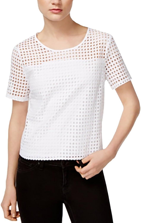Bar III Perforated ShortSleeve Top