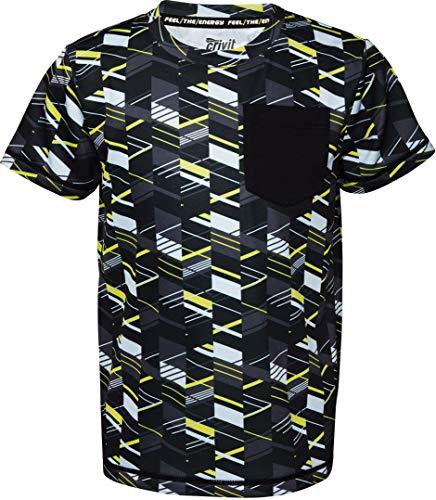 Crivit® Jungen Sport T-Shirt Funktionsshirt Sportshirt Trainingsshirt, Kurzarm (schwarz gelb weiß Gemustert, Gr. 134/140)
