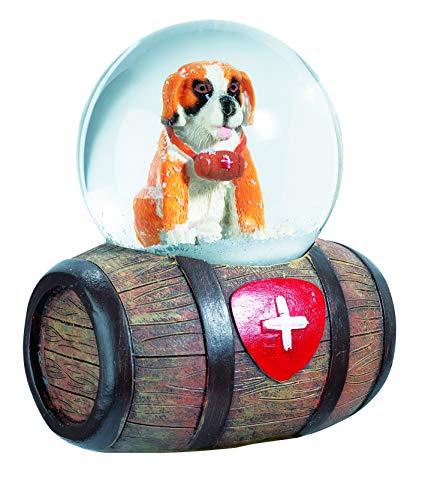 Impexit - Palla di neve per cane San Bernard su botte in resina, 10/8/6 cm
