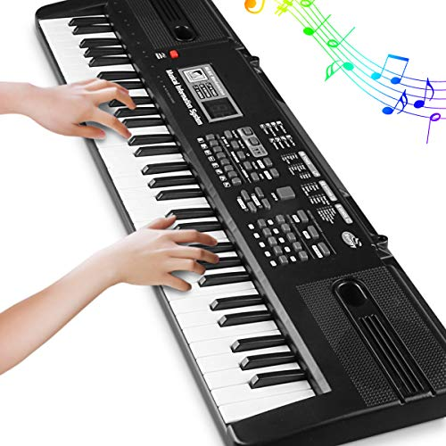 Digital Music Piano Keyboard 61 Key - Portable Electronic Musical Instrument with Microphone Kids Piano Musical Teaching Keyboard Toy for Birthday Christmas Festival Gift