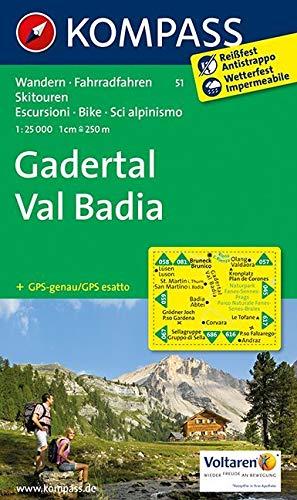 Gadertal - Val Badia: Wanderkarte mit Radrouten und Skitouren. GPS-genau. 1:25000 (KOMPASS-Wanderkarten, Band 51)