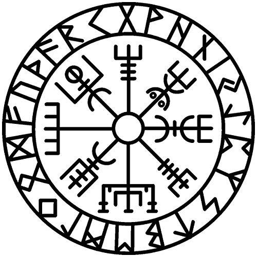 Samunshi® Aufkleber Vegvisir mit Runen 3 Vikings Wikinger für Auto Motorrad in 11 Größen und 25 Farben (10x10cm schwarz)