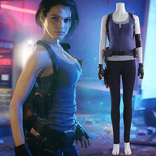 GOLDEN MANGO Residente Evil 3 Remastered Version: Traje De Jill, Juegos De rol Traje Completo Apoyo A Medida De La Mascarada Femenina Medias Cosplay Traje,XXXL