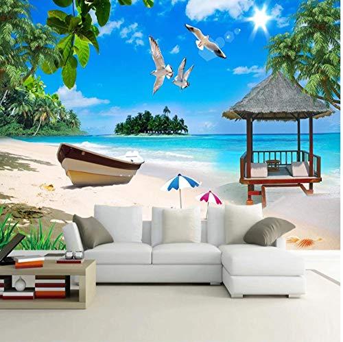 ZHEN WALLPAPER Blue Sandy Beach Seagull Landschaftsmalerei Benutzerdefinierte Wandbild 3D Poster Hintergrundbilder für Schlafzimmer Wohnzimmer Sofa TV Hintergrund Foto 400cmx280cm(157.4x110.2inch)