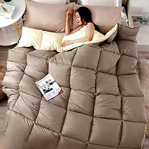 QETUOA Thick and Warm Duvet, Comfortable and Anti-allergic, 95% White Goose Down Filling, Single Double Fall/winter Quilt Core (Coffee color,200X230cm-4kg)