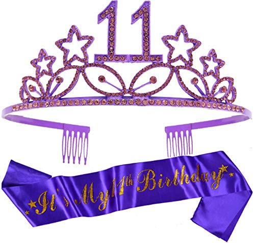 11th Birthday Gifts for Girl, 11th Birthday Tiara and Sash Purple, HAPPY 11th Birthday Party Supplies, 11 & Fabulous Glitter Satin Sash and Crystal Tiara Birthday Crown for 11th Birthday Party Supply