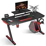 MOTPK Gaming Desk 60 inch Z Shaped Home Office PC Computer Gaming Desk Table Carbon Coated with Monitor Stand Controller Stand Cup Holder Headphone Hook, Black