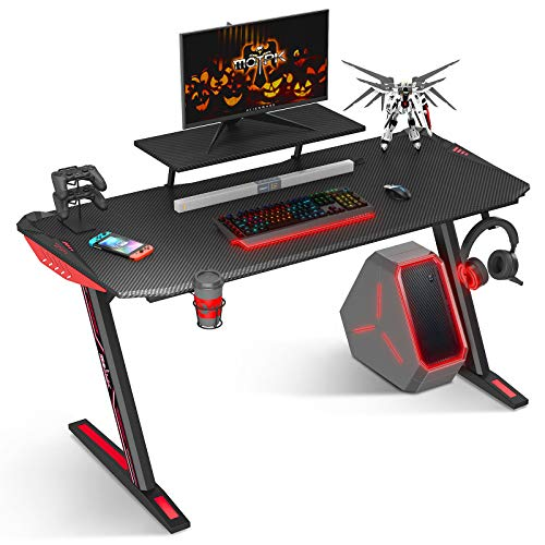 MOTPK Gaming Desk 60 inch Z Shaped Home Office PC Computer Gaming Desk Table Carbon Coated...