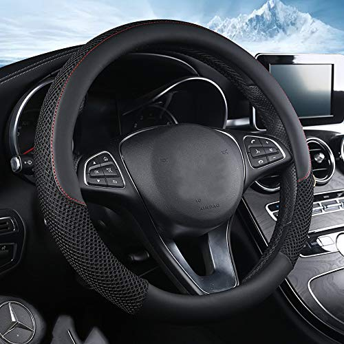 ZHOL Universal 15 inch Steering Wheel Cover Microfiber Leather...