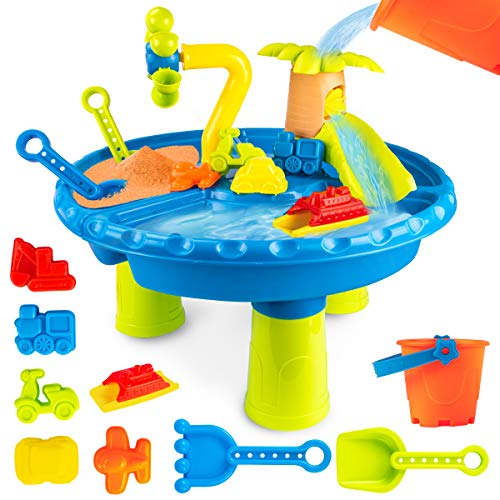 UNIH Water Table for Toddlers, Sand and Water Table Sand Molds Sand Playset Toys for Boys Girls Age 1 2 3 Year Old