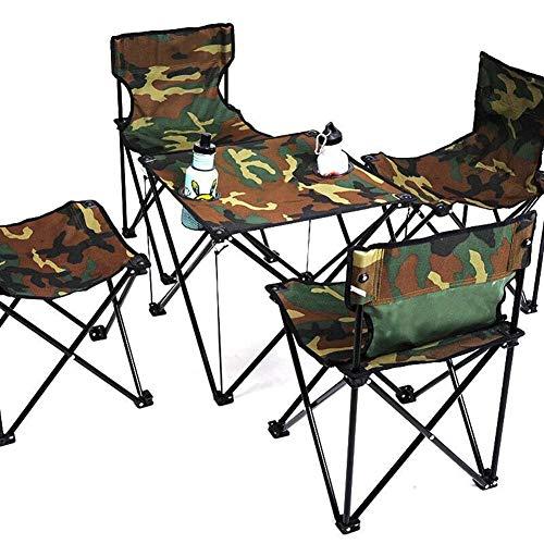 MSF Klapptisch Outdoor Klapptisch und Stuhl Set Angeln Stuhl Hocker Portable Picknicktisch Stuhl 1 Tisch 4 Stühle (Farbe : Camouflage Table+Chair)