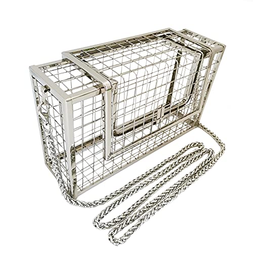 Cage Metal Purse Bag Women Casual Hollow Out Square Caged Bag Crossbody Evening Handbag with Twist Chain (Silver (1 chain))