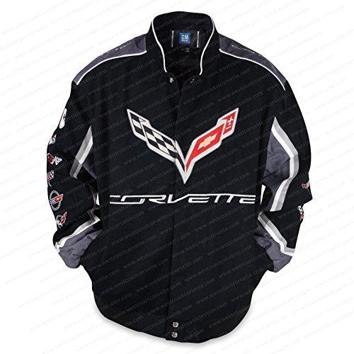 West Coast Corvette - C7 Corvette All Logo Collage Twill Jacket - Black : C1, C2, C3, C4, C5, C6, C7 (Large)
