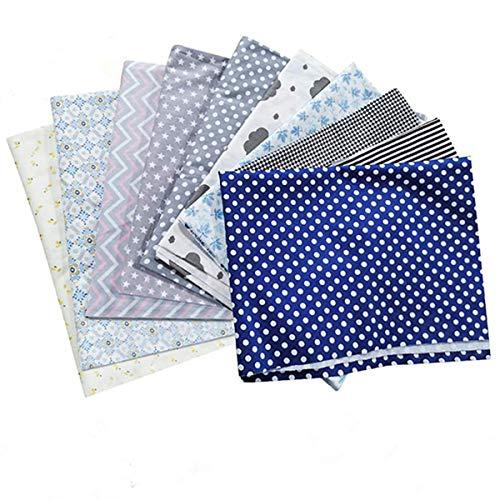 king do way 10 Stück DIY Muster Baumwollstoff Set, 100% Patchwork Baumwolle nähstoffe Stoffpaket, mit 10 Stück Ersatz-Wattepad + 5M Gummiband, 30 x 50 cm Stoffe zum nähen