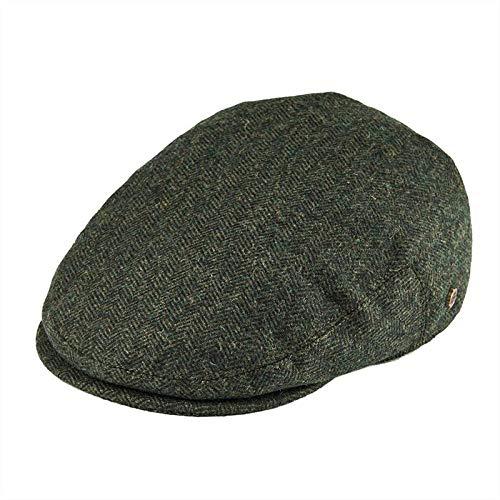 ileibmaoz Barett Baskenmützen Fischgrät-Efeu-Mütze Fahrende Glatte Mützen 50% Tweed-Schuppen-Hut Käseschneider-Hüte-Grün_60-61_cm
