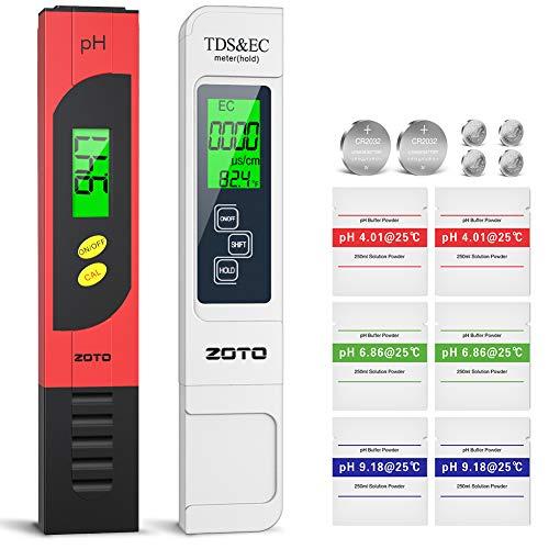 ZOTO pH Messgerät, TDS Messgerät, EC & Temperatur Messgerät 4 in 1 Set mit LCD - Display, Leitwertmessgerät mit hoher Genauigkeit, ATC Wasserqualität Tester für Trinkwasser, Pool, Aquarium, Labor
