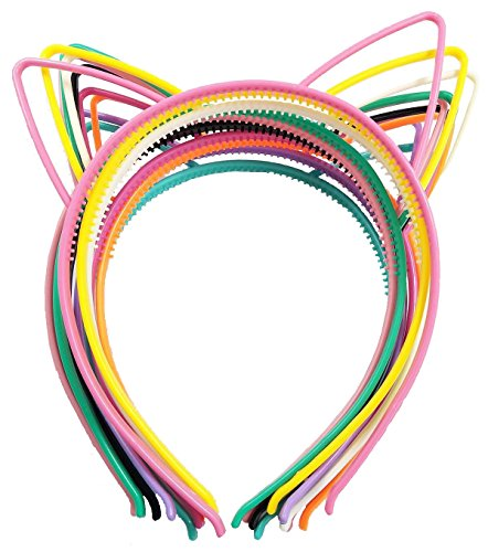 Misscrafts Kitty Ear Headbands 10pc Plastic Cat Hair Band Bow for Makeup or Party ✅