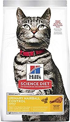 Hill's Science Diet Dry Cat Food, Adult, Urinary & Hairball Control, Chicken Recipe, 3.5 lb Bag