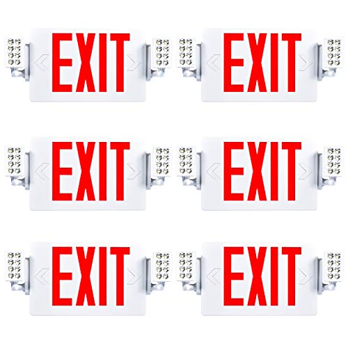 Sunco Lighting 6 Pack Double Sided LED Emergency EXIT Sign, Two LED Lights, Backup Battery, US Standard Red Letter Emergency Exit Lighting, Commercial...