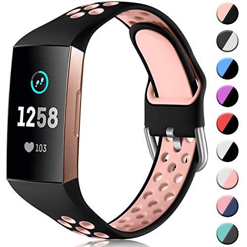 CeMiKa Ersatzarmband Kompatibel mit Fitbit Charge 4 Armband/Fitbit Charge 3 Armband, Atmungsaktives Silikon Sport Armbänder für Charge 3 SE/Charge 4 SE, Klein Schwarz/Rosa