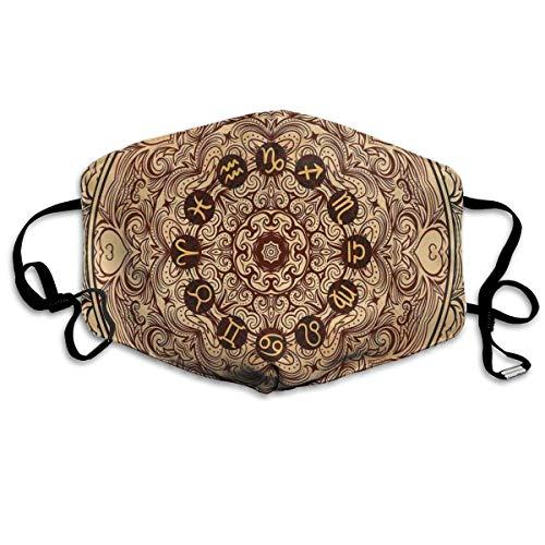 mundschutz Atmungsaktive Gesichtsbedeckung Mundbedeckung Staubdichte Micro Cosmos Universe-Ikone Mandala-Form aus östlicher Spitze mit Zeichen auf dem Grunge-Rücken, Gesichtsdekorationen