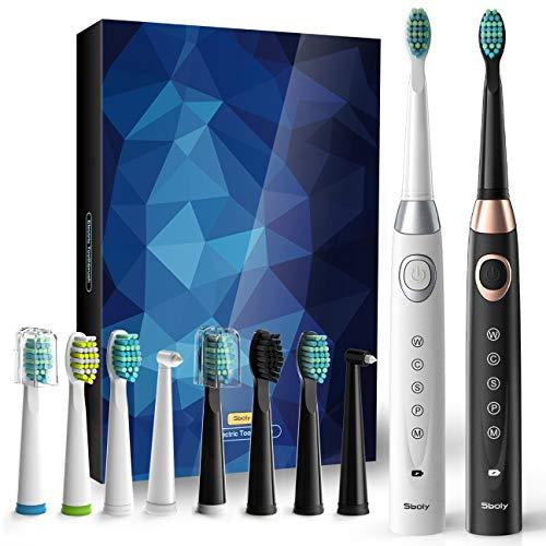 2 Elektrische Schallzahnbürsten 5 Modi 8 Bürstenköpfe USB Rapid Charger Powered Zahnbürste für 30 Tage, eingebauter Smart Timer Wiederaufladbare Zahnbürsten (1 Schwarz & 1 Weiß)